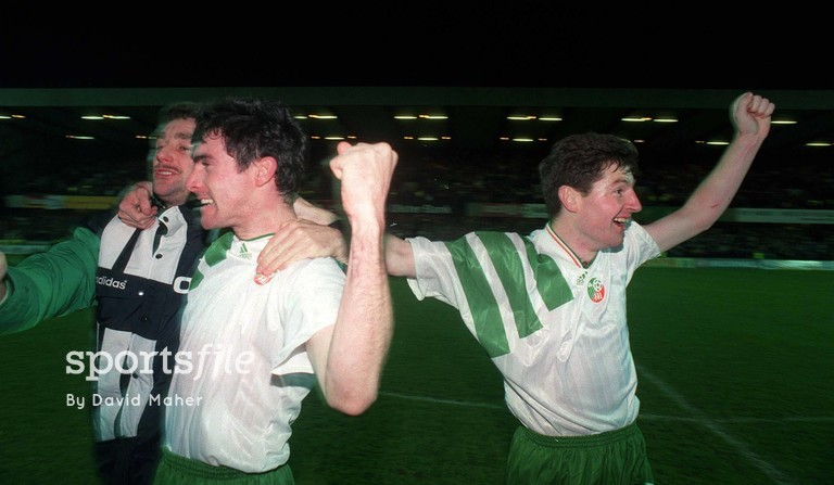17 November 1993; John Aldridge, Alan McLoughlin and Denis Irwin celebrate after qualifying for the 1994 World Cup Finals, Ireland v Northern Ireland, Windsor Park, Belfast. Picture credit: David Maher/SPORTSFILE