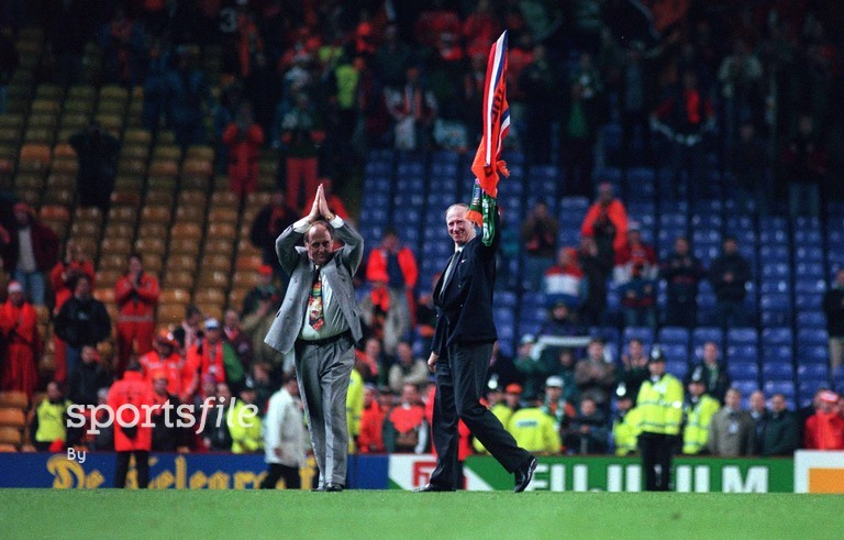 13 December 1996. Republic of Ireland manager Jack Charlton, right, and assistant Maurice Setters applaud the crowd after their side were defeated by Holland. European Soccer Championship Qualifying Play-off, Anfield, Liverpool, England. Picture credit; David Maher / SPORTSFILE