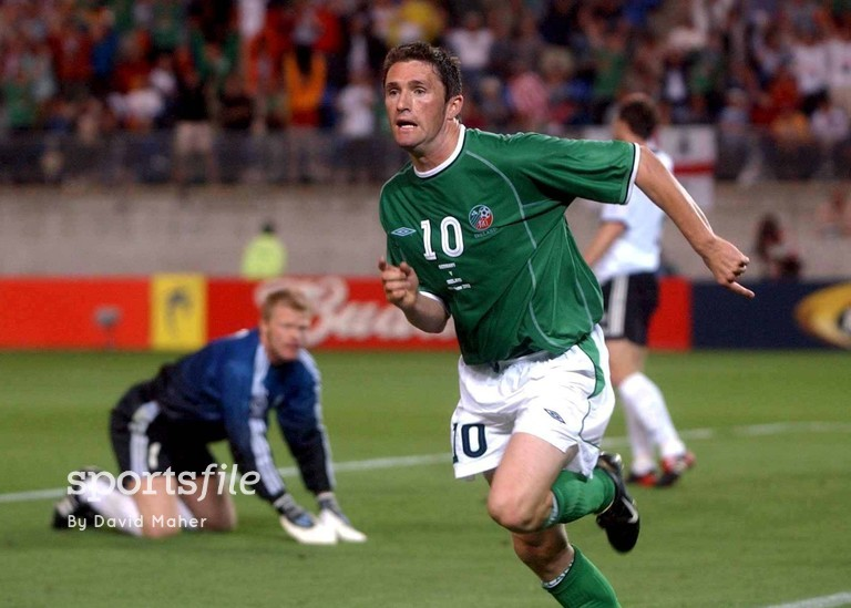 5 June 2002; Robbie Keane, Republic of Ireland, celebrates his goal as Germany goalkeeper Oliver Kahn looks on. FIFA World Cup Finals, Group E, Republic of Ireland v Germany, Ibaraki Stadium, Ibaraki, Japan. Picture credit: David Maher / SPORTSFILE
