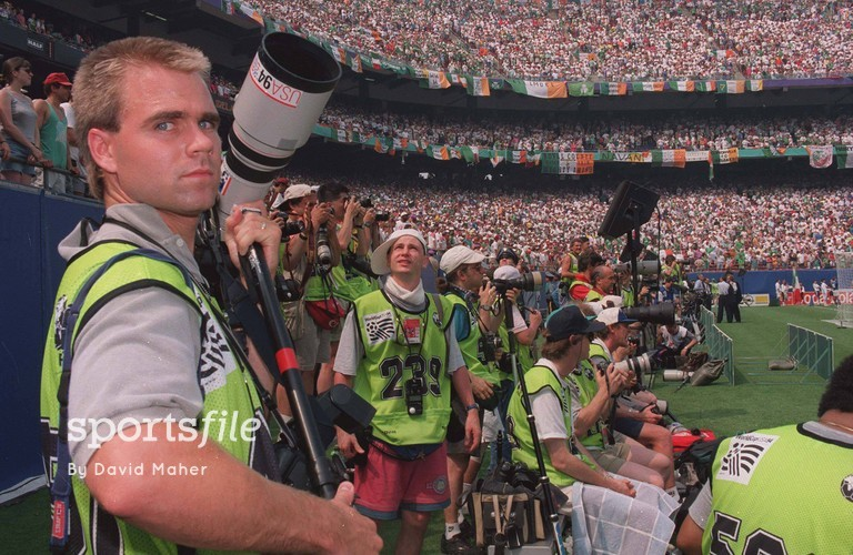 18 June 1994; Photographers pictured during the FIFA World Cup Finals, Republic of Ireland v Italy, Giants Stadium, Meadowlands, New Jersey, USA. Picture credit: David Maher / SPORTSFILE