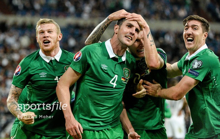 14 October 2014; John O'Shea, Republic of Ireland, celebrates after scoring his side's equalizing goal with team-mates, from left, James McClean, Jeff Henderick and Stephen Ward. UEFA EURO 2016 Championship Qualifer, Group D, Germany v Republic of Ireland, Veltins Stadium, Gelsenkirchen, Germany. Picture credit: David Maher / SPORTSFILE