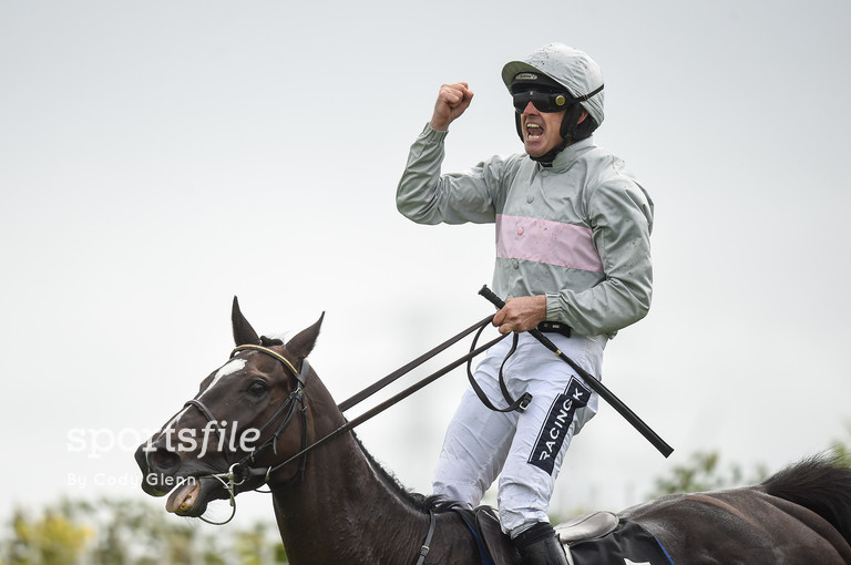 28 July 2016; Ruby Walsh celebrates winning the Guinness Galway Hurdle Handicap on Clondaw Warrior at the Galway Races in Ballybrit, Co Galway. Photo by Cody Glenn/Sportsfile