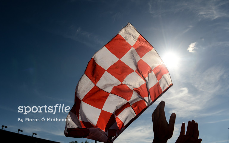 18 June 2017; A Cork supporter flies a flag after the Munster GAA Hurling Senior Championship Semi-Final match between Waterford and Cork at Semple Stadium in Thurles, Co Tipperary.  Photo by Piaras Ó Mídheach/Sportsfile