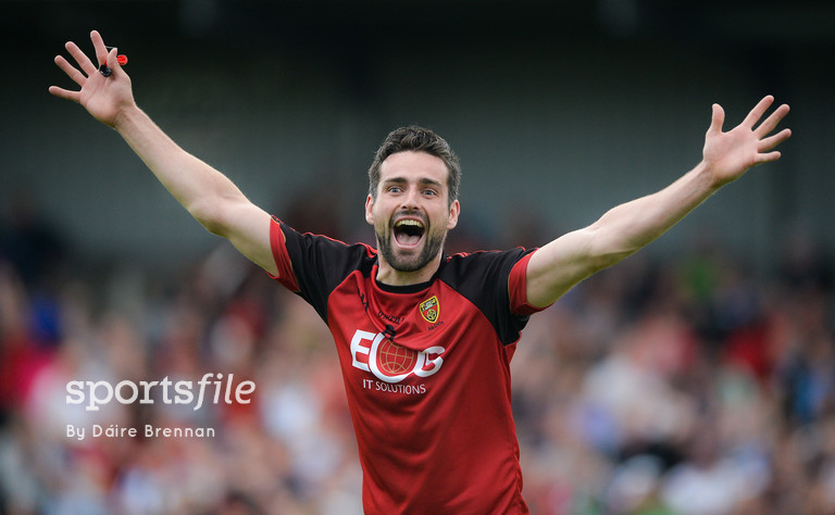 24 June 2017; Kevin McKernan of Down celebrates at the final whistle after the Ulster GAA Football Senior Championship Semi-Final match between Down and Monaghan at the Athletic Grounds in Armagh. Photo by Daire Brennan/Sportsfile