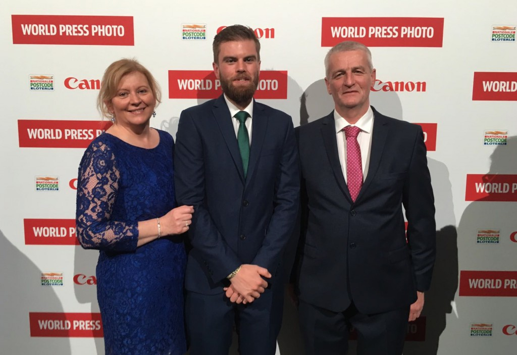 Sportsfile's Stephen McCarthy at the awards in Amsterdam with parents Leo & Maura.