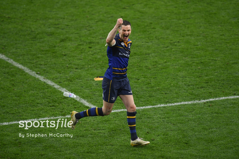 12 May 2018; Jonathan Sexton of Leinster celebrates following the European Rugby Champions Cup Final match between Leinster and Racing 92 at San Mames Stadium in Bilbao, Spain. Photo by Stephen McCarthy/Sportsfile