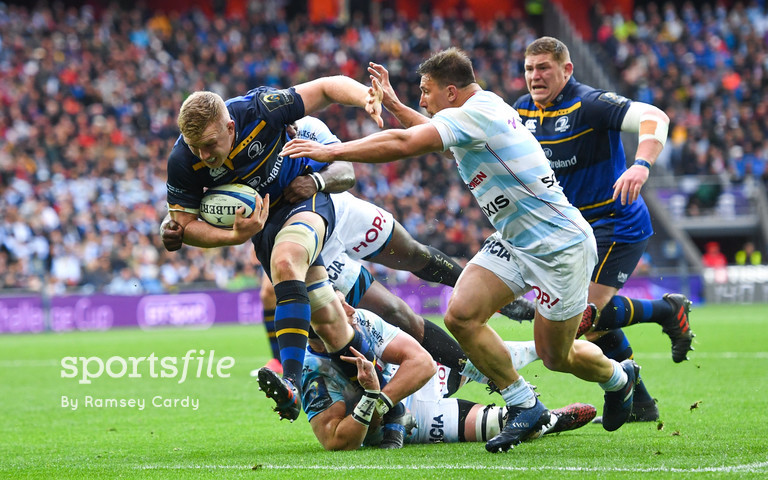 12 May 2018; Dan Leavy of Leinster is tackled by Yannick Nyanga of Racing 92 during the European Rugby Champions Cup Final match between Leinster and Racing 92 at the San Mames Stadium in Bilbao, Spain. Photo by Ramsey Cardy/Sportsfile