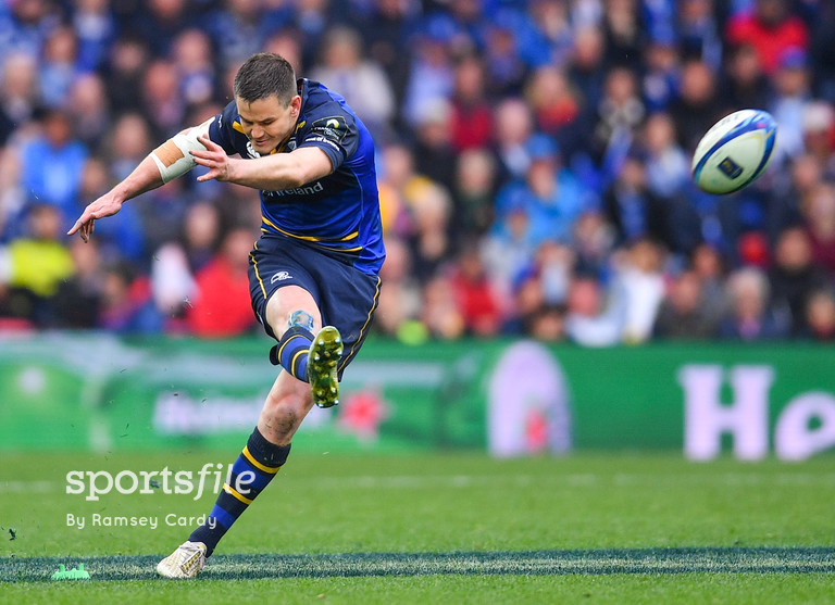 12 May 2018; Jonathan Sexton of Leinster kicks an unsuccessful penalty during the European Rugby Champions Cup Final match between Leinster and Racing 92 at the San Mames Stadium in Bilbao, Spain. Photo by Ramsey Cardy/Sportsfile