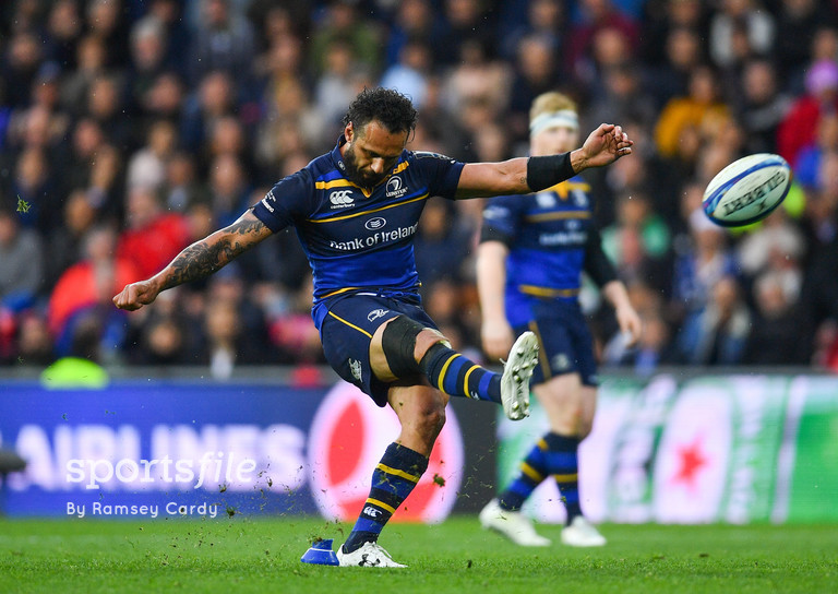 12 May 2018; Isa Nacewa of Leinster kicks a seventieth minute penalty during the European Rugby Champions Cup Final match between Leinster and Racing 92 at the San Mames Stadium in Bilbao, Spain. Photo by Ramsey Cardy/Sportsfile