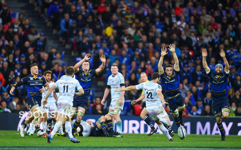 12 May 2018; Remi Tales of Racing 92 kick an unsuccessful drop goal during the European Rugby Champions Cup Final match between Leinster and Racing 92 at the San Mames Stadium in Bilbao, Spain. Photo by Ramsey Cardy/Sportsfile
