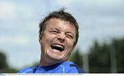 Brian O'Driscoll and Shane Jennings attend the Centra Leinster Rugby Summer Camps in Donnybrook