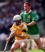 4 August 1996; Eoin Colgan of Antrim under pressure from Frankie Carroll of Limerick during the GAA Hurling All-Ireland Senior Championship Semi-Final match between Antrim and Limerick at Croke Park in Dublin. Photo by Ray McManus/Sportsfile
