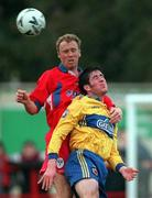 26 October 1998; Graham Lawlor of Bohemians in action against Tony McCarthy of Shelbourne during the Harp Lager National League Premier Division match between Shelbourne and Bohemians at Tolka Park in Dublin. Photo by Ray McManus/Sportsfile