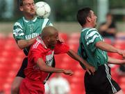 30 August 1998; Jason Kabia of Cork City in action against Bo McKeever, left, and Greg O'Halloran of Bray Wanderers during the Harp Lager National League Premier Division match between Bray Wanderers and Cork City at the Carlisle Grounds in Bray, Wicklow. Photo by David Maher/Sportsfile