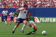 18 June 1994; Paul McGrath of Republic of Ireland tackles Giuseppe Signori of Italy during the FIFA World Cup 1994 Group E match between Republic of Ireland and Italy at Giants Stadium in New Jersey, USA. Photo by David Maher/Sportsfile