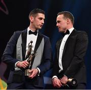 3 November 2017; Kerry footballer Paul Geaney, left, and Mayo footballer Andy Moran during the PwC All Stars 2017 at the Convention Centre in Dublin. Photo by Brendan Moran/Sportsfile