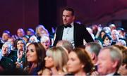 3 November 2017; Footballer of the Year Andy Moran of Mayo walks up to get his award during the PwC All Stars 2017 at the Convention Centre in Dublin. Photo by Brendan Moran/Sportsfile