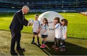 4 November 2017; In attendance at the GAA Healthy Clubs Recognition Event, supported by Irish Life, which saw 58 GAA clubs recognised as the first official 'Healthy Clubs' on the island of Ireland is Uachtarán Chumann Lúthchleas Gael Aogán Ó Fearghail with, from left, Conor McDonald, age 6, Méabh McDonald, age 4, Alannah Lalor, age 5, and Aoibhe Lalor age 7, all from the St Colmcilles Healthy Club in Meath. The GAA's Healthy Clubs Project hopes to transform GAA clubs nationally into hubs for community health and wellbeing. As part of the programme, each club is trained to deliver advice and information programmes on a variety of different topics including, physical activity; emotional wellbeing; healthy eating; community development, to name but a few. For more information, visit: www.gaa.ie/community. Croke Park, Dublin. Photo by Piaras Ó Mídheach/Sportsfile