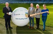 4 November 2017; In attendance at the GAA Healthy Clubs Recognition Event, supported by Irish Life, which saw 58 GAA clubs recognised as the first official 'Healthy Clubs' on the island of Ireland are, from left, Uachtarán Chumann Lúthchleas Gael Aogán Ó Fearghail, David Harney, CEO Irish Life, Catherine Byrne, Minister of State for Health Promotion and the National Drugs Strategy, Department of Health, and Fiona Teague, Health Improvement Manager with the Public Health Agency with a regional responsibility for Mental and Emotional Well Being and Suicide Prevention. The GAA's Healthy Clubs Project hopes to transform GAA clubs nationally into hubs for community health and wellbeing. As part of the programme, each club is trained to deliver advice and information programmes on a variety of different topics including, physical activity; emotional wellbeing; healthy eating; community development, to name but a few. For more information, visit: www.gaa.ie/community. Croke Park, Dublin. Photo by Piaras Ó Mídheach/Sportsfile