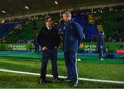 3 November 2017; Glasgow Warriors head coach Dave Rennie in conversation with Leinster head coach Leo Cullen ahead of the Guinness PRO14 Round 8 match between Glasgow Warriors and Leinster at Scotstoun in Glasgow, Scotland. Photo by Ramsey Cardy/Sportsfile