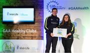 4 November 2017; Katherine Williams, representing Melvin Gaels, Co Leitrim, is presented with the Official Healthy Club Award by Seán Cavanagh, Healthy Clubs Ambassador and former Tyrone Footballer. The special ceremony held in Croke Park saw 58 GAA clubs recognised as the first official 'Healthy Clubs' on the island of Ireland. The GAA's Healthy Clubs Project hopes to transform GAA clubs nationally into hubs for community health and wellbeing. As part of the programme, each club is trained to deliver advice and information programmes on a variety of different topics including, physical activity; emotional wellbeing; healthy eating; community development, to name but a few. For more information, visit: www.gaa.ie/community. Croke Park, Dublin. Photo by Piaras Ó Mídheach/Sportsfile