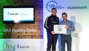 4 November 2017; Trevor Coen, representing St Michael's GAA, Co Sligo, is presented with the Official Healthy Club Award by Seán Cavanagh, Healthy Clubs Ambassador and former Tyrone Footballer. The special ceremony held in Croke Park saw 58 GAA clubs recognised as the first official 'Healthy Clubs' on the island of Ireland. The GAA's Healthy Clubs Project hopes to transform GAA clubs nationally into hubs for community health and wellbeing. As part of the programme, each club is trained to deliver advice and information programmes on a variety of different topics including, physical activity; emotional wellbeing; healthy eating; community development, to name but a few. For more information, visit: www.gaa.ie/community. Croke Park, Dublin. Photo by Piaras Ó Mídheach/Sportsfile