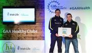 4 November 2017; Séamus Kearney, representing Michael Davitt GAC Swatragh, Co Derry, is presented with the Official Healthy Club Award by Seán Cavanagh, Healthy Clubs Ambassador and former Tyrone Footballer. The special ceremony held in Croke Park saw 58 GAA clubs recognised as the first official 'Healthy Clubs' on the island of Ireland. The GAA's Healthy Clubs Project hopes to transform GAA clubs nationally into hubs for community health and wellbeing. As part of the programme, each club is trained to deliver advice and information programmes on a variety of different topics including, physical activity; emotional wellbeing; healthy eating; community development, to name but a few. For more information, visit: www.gaa.ie/community. Croke Park, Dublin. Photo by Piaras Ó Mídheach/Sportsfile