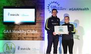 4 November 2017; Kelly Marie Rodgers, representing Naomh Muire Kincasslagh, Co Donegal, is presented with the Official Healthy Club Award by Seán Cavanagh, Healthy Clubs Ambassador and former Tyrone Footballer. The special ceremony held in Croke Park saw 58 GAA clubs recognised as the first official 'Healthy Clubs' on the island of Ireland. The GAA's Healthy Clubs Project hopes to transform GAA clubs nationally into hubs for community health and wellbeing. As part of the programme, each club is trained to deliver advice and information programmes on a variety of different topics including, physical activity; emotional wellbeing; healthy eating; community development, to name but a few. For more information, visit: www.gaa.ie/community. Croke Park, Dublin. Photo by Piaras Ó Mídheach/Sportsfile