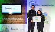 4 November 2017; Karen Williamson, representing Parteen, Co Clare, is presented with the Official Healthy Club Award by Seán Cavanagh, Healthy Clubs Ambassador and former Tyrone Footballer. The special ceremony held in Croke Park saw 58 GAA clubs recognised as the first official 'Healthy Clubs' on the island of Ireland. The GAA's Healthy Clubs Project hopes to transform GAA clubs nationally into hubs for community health and wellbeing. As part of the programme, each club is trained to deliver advice and information programmes on a variety of different topics including, physical activity; emotional wellbeing; healthy eating; community development, to name but a few. For more information, visit: www.gaa.ie/community. Croke Park, Dublin. Photo by Piaras Ó Mídheach/Sportsfile