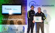 4 November 2017; Kevin O'Hagan, representing Mungret St Paul's, Co Limerick, is presented with the Official Healthy Club Award by Seán Cavanagh, Healthy Clubs Ambassador and former Tyrone Footballer. The special ceremony held in Croke Park saw 58 GAA clubs recognised as the first official 'Healthy Clubs' on the island of Ireland. The GAA's Healthy Clubs Project hopes to transform GAA clubs nationally into hubs for community health and wellbeing. As part of the programme, each club is trained to deliver advice and information programmes on a variety of different topics including, physical activity; emotional wellbeing; healthy eating; community development, to name but a few. For more information, visit: www.gaa.ie/community. Croke Park, Dublin. Photo by Piaras Ó Mídheach/Sportsfile