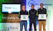 4 November 2017; Mayo representatives James Carty, Aghamore, left, and Cormac Murphy, Achill, with their Official Healthy Club Awards alongside Seán Cavanagh, Healthy Clubs Ambassador and former Tyrone Footballer. The special ceremony held in Croke Park saw 58 GAA clubs recognised as the first official 'Healthy Clubs' on the island of Ireland. The GAA's Healthy Clubs Project hopes to transform GAA clubs nationally into hubs for community health and wellbeing. As part of the programme, each club is trained to deliver advice and information programmes on a variety of different topics including, physical activity; emotional wellbeing; healthy eating; community development, to name but a few. For more information, visit: www.gaa.ie/community. Croke Park, Dublin. Photo by Piaras Ó Mídheach/Sportsfile