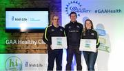 4 November 2017; Roscommon representatives Stephen Harney, St Aidan's GAA, left, and Maura Kelly, Oran GAA, with their Official Healthy Club Awards alongside Seán Cavanagh, Healthy Clubs Ambassador and former Tyrone Footballer. The special ceremony held in Croke Park saw 58 GAA clubs recognised as the first official 'Healthy Clubs' on the island of Ireland. The GAA's Healthy Clubs Project hopes to transform GAA clubs nationally into hubs for community health and wellbeing. As part of the programme, each club is trained to deliver advice and information programmes on a variety of different topics including, physical activity; emotional wellbeing; healthy eating; community development, to name but a few. For more information, visit: www.gaa.ie/community. Croke Park, Dublin. Photo by Piaras Ó Mídheach/Sportsfile