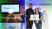 4 November 2017; Joanie McGrath, representing Brickey Rangers GAA, Co Waterford, is presented with the Official Healthy Club Award by Seán Cavanagh, Healthy Clubs Ambassador and former Tyrone Footballer. The special ceremony held in Croke Park saw 58 GAA clubs recognised as the first official 'Healthy Clubs' on the island of Ireland. The GAA's Healthy Clubs Project hopes to transform GAA clubs nationally into hubs for community health and wellbeing. As part of the programme, each club is trained to deliver advice and information programmes on a variety of different topics including, physical activity; emotional wellbeing; healthy eating; community development, to name but a few. For more information, visit: www.gaa.ie/community. Croke Park, Dublin. Photo by Piaras Ó Mídheach/Sportsfile