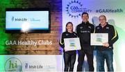 4 November 2017; Antrim representatives Marie Anne Forrester, St Mary's GAC Rasharkin, and Terry Hasson, representing St Joseph's GAC, with their Official Healthy Club awards alongside Seán Cavanagh, Healthy Clubs Ambassador and former Tyrone footballer. The GAA Healthy Clubs Recognition Event, supported by Irish Life, saw 58 GAA clubs recognised as the first official 'Healthy Clubs' on the island of Ireland. The GAA's Healthy Clubs Project hopes to transform GAA clubs nationally into hubs for community health and wellbeing. As part of the programme, each club is trained to deliver advice and information programmes on a variety of different topics including, physical activity; emotional wellbeing; healthy eating; community development, to name but a few. For more information, visit: www.gaa.ie/community. Croke Park, Dublin. Photo by Piaras Ó Mídheach/Sportsfile