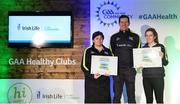 4 November 2017; Kerry representatives, from left, Bridget Hartnett, left, Beaufort GAA, and Roz Fitzgerald, Tralee Parnell's Hurling & Camogie Club, with their Official Healthy Club awards alongside Seán Cavanagh, Healthy Clubs Ambassador and former Tyrone footballer. The GAA Healthy Clubs Recognition Event, supported by Irish Life, saw 58 GAA clubs recognised as the first official 'Healthy Clubs' on the island of Ireland. The GAA's Healthy Clubs Project hopes to transform GAA clubs nationally into hubs for community health and wellbeing. As part of the programme, each club is trained to deliver advice and information programmes on a variety of different topics including, physical activity; emotional wellbeing; healthy eating; community development, to name but a few. For more information, visit: www.gaa.ie/community. Croke Park, Dublin. Photo by Piaras Ó Mídheach/Sportsfile