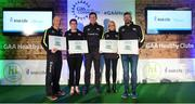 4 November 2017; Cork representatives, from left, Colman Motherway, Killeagh, Mairead Beausang, Midleton Hurling & Football Club, Cathryn O'Brien, St Finbarr's National Hurling & Football Club and Conor Buckley, Castlehaven GAA, with their Official Healthy Club awards alongside Seán Cavanagh, Healthy Clubs Ambassador and former Tyrone footballer. The GAA Healthy Clubs Recognition Event, supported by Irish Life, saw 58 GAA clubs recognised as the first official 'Healthy Clubs' on the island of Ireland. The GAA's Healthy Clubs Project hopes to transform GAA clubs nationally into hubs for community health and wellbeing. As part of the programme, each club is trained to deliver advice and information programmes on a variety of different topics including, physical activity; emotional wellbeing; healthy eating; community development, to name but a few. For more information, visit: www.gaa.ie/community. Croke Park, Dublin. Photo by Piaras Ó Mídheach/Sportsfile