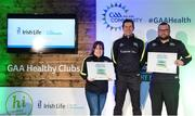 4 November 2017; Tyrone representatives Tracy Monaghan, left, Omagh St Enda's, and Fearghal Mac Ruairí, Greencastles, with their Official Healthy Club awards alongside Seán Cavanagh, Healthy Clubs Ambassador and former Tyrone footballer. The GAA Healthy Clubs Recognition Event, supported by Irish Life, saw 58 GAA clubs recognised as the first official 'Healthy Clubs' on the island of Ireland. The GAA's Healthy Clubs Project hopes to transform GAA clubs nationally into hubs for community health and wellbeing. As part of the programme, each club is trained to deliver advice and information programmes on a variety of different topics including, physical activity; emotional wellbeing; healthy eating; community development, to name but a few. For more information, visit: www.gaa.ie/community. Croke Park, Dublin. Photo by Piaras Ó Mídheach/Sportsfile