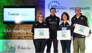 4 November 2017; Down representatives Katriona Kernan, left, Mary Walsh, both St Peter's Warrenpoint, and Kevin McGlynn, St John's Drumnaquoile, with their Official Healthy Club awards alongside Seán Cavanagh, Healthy Clubs Ambassador and former Tyrone footballer. The GAA Healthy Clubs Recognition Event, supported by Irish Life, saw 58 GAA clubs recognised as the first official 'Healthy Clubs' on the island of Ireland. The GAA's Healthy Clubs Project hopes to transform GAA clubs nationally into hubs for community health and wellbeing. As part of the programme, each club is trained to deliver advice and information programmes on a variety of different topics including, physical activity; emotional wellbeing; healthy eating; community development, to name but a few. For more information, visit: www.gaa.ie/community. Croke Park, Dublin. Photo by Piaras Ó Mídheach/Sportsfile