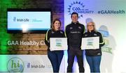 4 November 2017; Fermanagh representatives Jacqueline Magee, left, Derrygonnelly Harps GFC, and Ciara Hughes, Erne Gaels Belleek, with their Official Healthy Club awards alongside Seán Cavanagh, Healthy Clubs Ambassador and former Tyrone footballer. The GAA Healthy Clubs Recognition Event, supported by Irish Life, saw 58 GAA clubs recognised as the first official 'Healthy Clubs' on the island of Ireland. The GAA's Healthy Clubs Project hopes to transform GAA clubs nationally into hubs for community health and wellbeing. As part of the programme, each club is trained to deliver advice and information programmes on a variety of different topics including, physical activity; emotional wellbeing; healthy eating; community development, to name but a few. For more information, visit: www.gaa.ie/community. Croke Park, Dublin. Photo by Piaras Ó Mídheach/Sportsfile