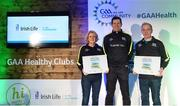 4 November 2017; Cavan representatives Mary McCarthy, Cavan Gaels, and Kevin Reilly, Killygarry GAA, with their Official Healthy Club awards alongside Seán Cavanagh, Healthy Clubs Ambassador and former Tyrone footballer. The GAA Healthy Clubs Recognition Event, supported by Irish Life, saw 58 GAA clubs recognised as the first official 'Healthy Clubs' on the island of Ireland. The GAA's Healthy Clubs Project hopes to transform GAA clubs nationally into hubs for community health and wellbeing. As part of the programme, each club is trained to deliver advice and information programmes on a variety of different topics including, physical activity; emotional wellbeing; healthy eating; community development, to name but a few. For more information, visit: www.gaa.ie/community. Croke Park, Dublin. Photo by Piaras Ó Mídheach/Sportsfile