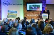 4 November 2017; Uachtarán Chumann Lúthchleas Gael Aogán Ó Fearghail speaking at the GAA Healthy Clubs Recognition Event, supported by Irish Life, which saw 58 GAA clubs recognised as the first official 'Healthy Clubs' on the island of Ireland. The GAA's Healthy Clubs Project hopes to transform GAA clubs nationally into hubs for community health and wellbeing. As part of the programme, each club is trained to deliver advice and information programmes on a variety of different topics including, physical activity; emotional wellbeing; healthy eating; community development, to name but a few. For more information, visit: www.gaa.ie/community. Croke Park, Dublin. Photo by Piaras Ó Mídheach/Sportsfile