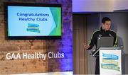 4 November 2017; Seán Cavanagh, Healthy Clubs Ambassador and former Tyrone footballer, speaking at the GAA Healthy Clubs Recognition Event, supported by Irish Life, which saw 58 GAA clubs recognised as the first official 'Healthy Clubs' on the island of Ireland. The GAA's Healthy Clubs Project hopes to transform GAA clubs nationally into hubs for community health and wellbeing. As part of the programme, each club is trained to deliver advice and information programmes on a variety of different topics including, physical activity; emotional wellbeing; healthy eating; community development, to name but a few. For more information, visit: www.gaa.ie/community. Croke Park, Dublin. Photo by Piaras Ó Mídheach/Sportsfile