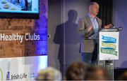 4 November 2017; David Harney, CEO Irish Life, speaking at the GAA Healthy Clubs Recognition Event, supported by Irish Life, which saw 58 GAA clubs recognised as the first official 'Healthy Clubs' on the island of Ireland. The GAA's Healthy Clubs Project hopes to transform GAA clubs nationally into hubs for community health and wellbeing. As part of the programme, each club is trained to deliver advice and information programmes on a variety of different topics including, physical activity; emotional wellbeing; healthy eating; community development, to name but a few. For more information, visit: www.gaa.ie/community. Croke Park, Dublin. Photo by Piaras Ó Mídheach/Sportsfile