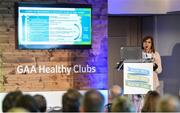 4 November 2017; Aoife O'Brien, GAA National Healthy Club Coordinator, speaking at the GAA Healthy Clubs Recognition Event, supported by Irish Life, which saw 58 GAA clubs recognised as the first official 'Healthy Clubs' on the island of Ireland. The GAA's Healthy Clubs Project hopes to transform GAA clubs nationally into hubs for community health and wellbeing. As part of the programme, each club is trained to deliver advice and information programmes on a variety of different topics including, physical activity; emotional wellbeing; healthy eating; community development, to name but a few. For more information, visit: www.gaa.ie/community. Croke Park, Dublin. Photo by Piaras Ó Mídheach/Sportsfile