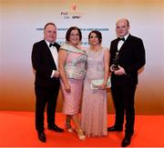 3 November 2017; Armagh hurler Artie McGuinness, right, with, from left, Arthur, Patricia and Emma McGuinness after collecting his Nickey Rackard Champion 15 Award during the PwC All Stars 2017 at the Convention Centre in Dublin. Photo by Sam Barnes/Sportsfile