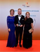3 November 2017; Carlow hurler Richard Coady with Marie Coady, right, and Dierdre Thomlinson, after collecting his Christy Ring Champion 15 Award during the PwC All Stars 2017 at the Convention Centre in Dublin. Photo by Sam Barnes/Sportsfile