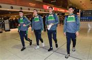 5 November 2017; Ireland players, from left, Brendan Harrison, Niall Morgan, ConorSweeney and Niall Murphy at Dublin Airport in Dublin prior to departure for Melbourne ahead of the Virgin Australia International Rules Series in Australia. Photo by Brendan Moran/Sportsfile