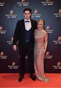 3 November 2017; Galway hurler Gearoid McInerney and Aggie Rzeszowska upon arrival at the PwC All Stars 2017 at the Convention Centre in Dublin. Photo by Brendan Moran/Sportsfile