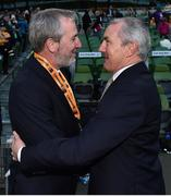 5 November 2017; Cork City WFC manager Frank Kelleher is congratulated by first team manager John Caulfield after the Continental Tyres FAI Women's Cup Final match between Cork City WFC and UCD Waves at Aviva Stadium in Dublin. Photo by Eóin Noonan/Sportsfile