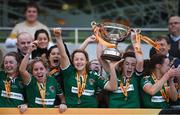 5 November 2017; Cork City WFC captain Ciara McNamara lifting the cup after the Continental Tyres FAI Women's Cup Final match between Cork City WFC and UCD Waves at Aviva Stadium in Dublin. Photo by Eóin Noonan/Sportsfile